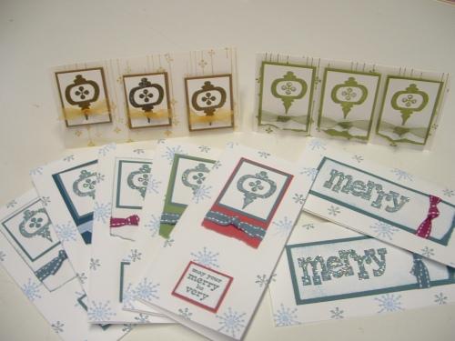 Chrissy cards a la process line.